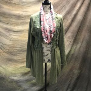 Green see through sweater with pink flower scarf